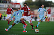 Swindon Town's Gary Roberts (11) is blocked by Coventry's Jordan Clarke. NPower league one, Swindon Town v Coventry city at the County Ground in Swindon on Saturday 13th October 2012.  pic by  Andrew Orchard, Andrew Orchard sports photography,