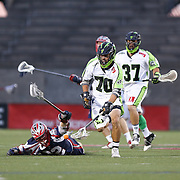 Steve DeNapoli #70 of the New York Lizards picks up the ball during the game at Harvard Stadium on July 19, 2014 in Boston, Massachusetts. (Photo by Elan Kawesch)