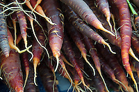 Purple carrots displayed at a farmers market in Maine's organic Common Ground Fair.