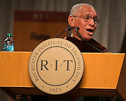 Maj. Gen. Charles F. Bolden, Jr., Administrator of NASA, speaks at RIT's Convocation Ceremony in Rochester on Friday, May 22, 2015.