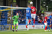 AFC Wimbledon striker Joe Pigott (39) battles for possession during the Pre-Season Friendly match between AFC Wimbledon and Bristol City at the Cherry Red Records Stadium, Kingston, England on 9 July 2019.
