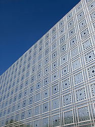 Exterior view of light sensitive facade and windows  in the Institut du Monde Arabe in Paris France Architect Jean Nouvel