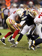 San Francisco 49ers linebacker Marcus Rush (44) hits San Diego Chargers quarterback Mike Bercovici (6) causing a fumble recovered by the Niners in the fourth quarter during the 2016 NFL preseason football game against the San Diego Chargers on Thursday, Sept. 1, 2016 in San Diego. The 49ers won the game 31-21. (©Paul Anthony Spinelli)