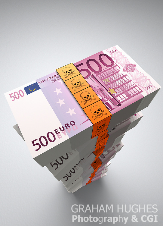 Large stack of Euro bank notes with orange toxic symbol note ties.