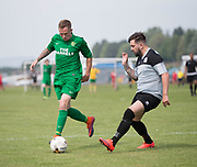 Hilltown Hotspurs (green) v Docs Hiberna (grey) in the Dundee Saturday Morning Football League at University Grounds, Riverside, Dundee, Photo by David Young<br /> <br /> <br />  - © David Young - www.davidyoungphoto.co.uk - email: davidyoungphoto@gmail.com