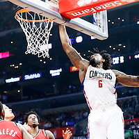 12 December 2016: LA Clippers center DeAndre Jordan (6) dunks the ball during the LA Clippers 121-120 victory over the Portland Trail Blazers, at the Staples Center, Los Angeles, California, USA.