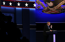 HEMPSTEAD, Sept. 27, 2016 (Xinhua) -- Republican Donald Trump attends the first presidential debate in Hempstead of New York, the United States, Sept. 26, 2016. Donald Trump and Democrat Hillary Clinton on Monday held their first presidential debate in Hempstead. (Xinhua/Qin Lang) (zw) (Credit Image: © Qin Lang/Xinhua via ZUMA Wire)