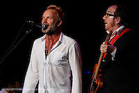 Sting sitting in with Elvis Costello  at Jones Beach on August 4, 2008. .At the Police show at Jones Beach.