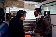 Roma 16 Aprile 2014<br /> Sgomberato palazzo in  via Baldassarre Castiglione alla Montagnola occupato nei giorni scorsi  dai movimenti per il diritto all'abitare da circa  200 persone, la polizia a caricato i manifestanti che protestano per lo sgombero, otto persone sono state ferite. Un manifestante ferito viene soccorso dai sanitari<br /> Rome April 16, 2014 <br /> Vacated the building in Via Baldassarre Castiglione,Montagnola district, busy in recent days by the movements for housing rights, by about 200 people, the police charged the demonstrators protesting the eviction, eight people were injured. A wounded protester is assisted by doctors