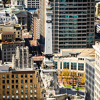 Indianapolis aerial picture of Monument Circle. The monument is in downtown Indianapolis in Monument Circle and was created to honor Indiana Hoosier veterans. The picture is vertical, high resolution  and was taken from a high angle.