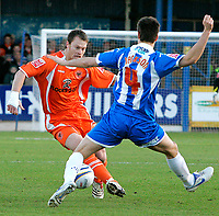 Photo: Tom Dulat/Sportsbeat Images.<br /> <br /> Colchester United v Blackpool. The FA Barclays Premiership. 29/12/2007. <br /> <br /> Michael Flynn of Blackpool and Johnnie Jackson of Colchester United with the ball.