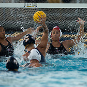 22 April 2016: The San Diego State Aztecs women's waterpolo team took on UCSD in the 15th Annual Harper Cup. The Tritons won 6-5 in sudden death overtime to reclaim the Harper Cup.