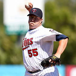 March 11, 2011; Fort Myers, FL, USA; Minnesota Twins relief pitcher Matt Capps (55) during a spring training exhibition game against the Boston Red Sox at Hammond Stadium.   Mandatory Credit: Derick E. Hingle