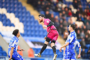 Hartlepool player Liam Donnelly heads a shot at goal during the second half  during the EFL Sky Bet League 2 match between Colchester United and Hartlepool United at the Weston Homes Community Stadium, Colchester, England on 25 February 2017. Photo by Ian  Muir.