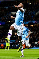 Raheem Sterling of Manchester City celebrates scoring a goal to make it 1-0 - Mandatory by-line: Robbie Stephenson/JMP - 01/10/2019 - FOOTBALL - Etihad Stadium - Manchester, England - Manchester City v Dinamo Zagreb - UEFA Champions League Group Stage