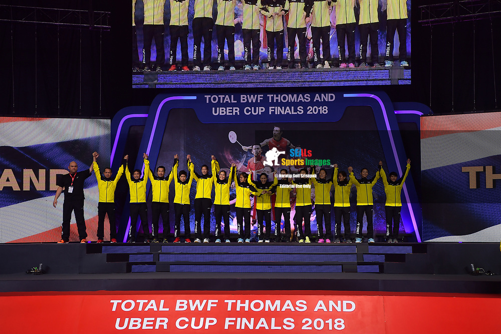 BANGKOK, THAILAND - MAY 26: Team Thailand on stage for their silver medals during the Medals Presentation at the BWF Total Thomas and Uber Cup Finals 2018, Impact Arena, Bangkok, Thailand on May 26, 2018.<br /> .<br /> .<br /> .<br /> (Photo by: Naratip Golf Srisupab/SEALs Sports Images)<br /> .<br /> Any image use must include a mandatory credit line adjacent to the content which should read: Naratip Golf Srisupab/SEALs Sports Images