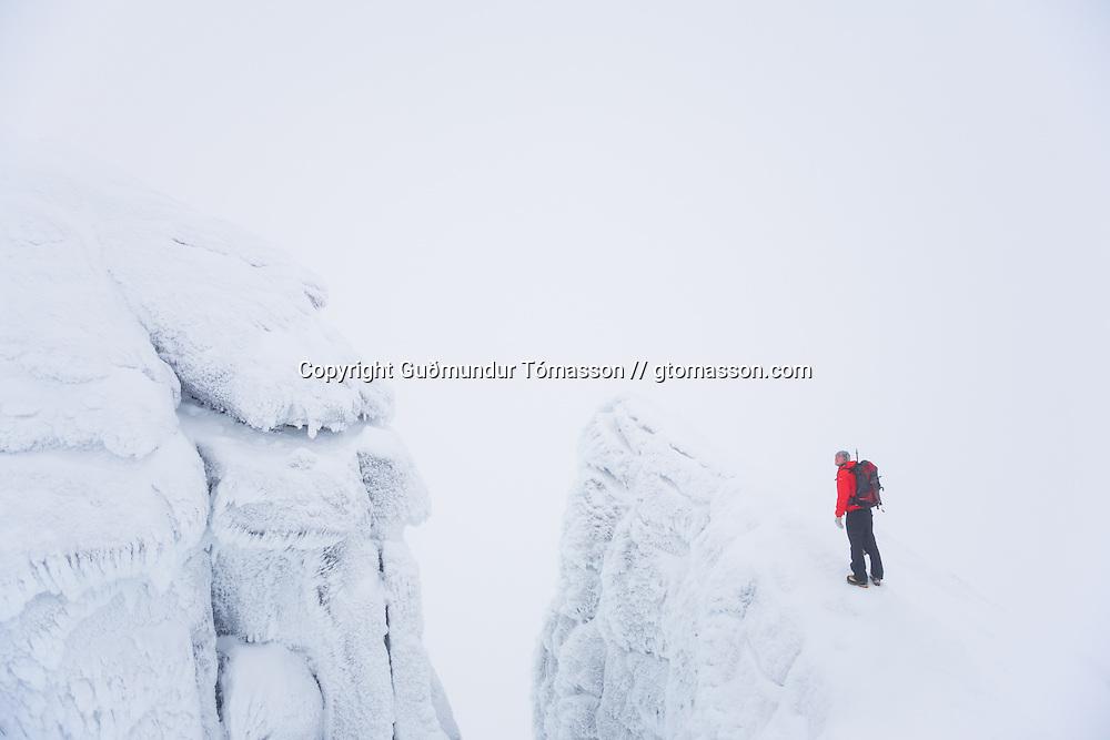 Arnar Felix Einarsson climbing mt. Hornklofi, Tindfjöll mountain range, Iceland.
