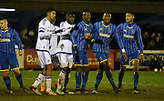 Wimbledon await the corner during the FA Youth Cup match between U18 AFC Wimbledon and U18 Chelsea at the Cherry Red Records Stadium, Kingston, England on 9 February 2016. Photo by Michael Hulf.