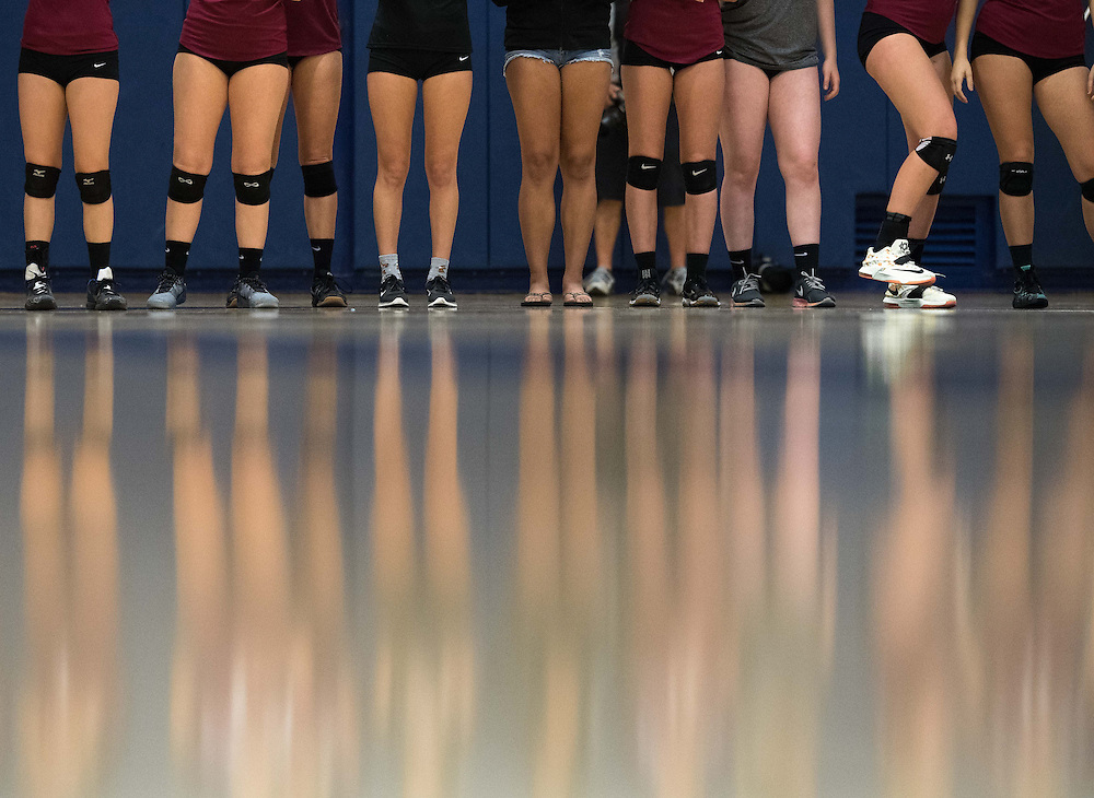 Fullerton, CA - Saddleback College women's volleyball players are introduced before the start of the Gaucho's November 4th match against the Fullerton College Hornets. Saddleback won the Orange empire Conference match.