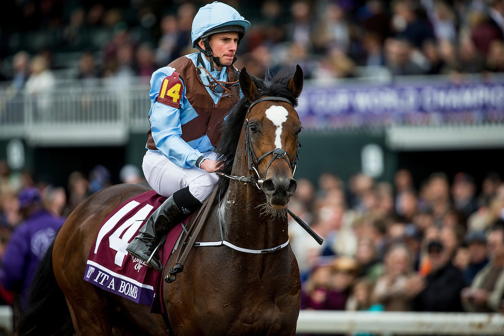 October 30, 2015:  Hit It A Bomb with Ryan Moore (left) wins the Breeders' Cup Juvenile Turf at Keeneland Race Track in Lexington, Kentucky. Evers/ESW/CSM