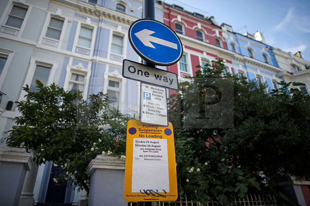 © Licensed to London News Pictures. 23/08/2019. London, UK. Parking restrictions in place around Notting Hill, West London ahead of the 2018 Notting Hill Carnival which starts this weekend. Warm weather is expected over the bank holiday weekend with carnival attracting over 1 million people to the capital. Photo credit: Ben Cawthra/LNP