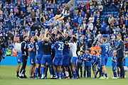Leicester City defender Marcin Wasilewski is given a send off by Leicester City team-mates as he leaves the club at the end of the season during the Premier League match between Leicester City and Bournemouth at the King Power Stadium, Leicester, England on 21 May 2017. Photo by Richard Holmes.