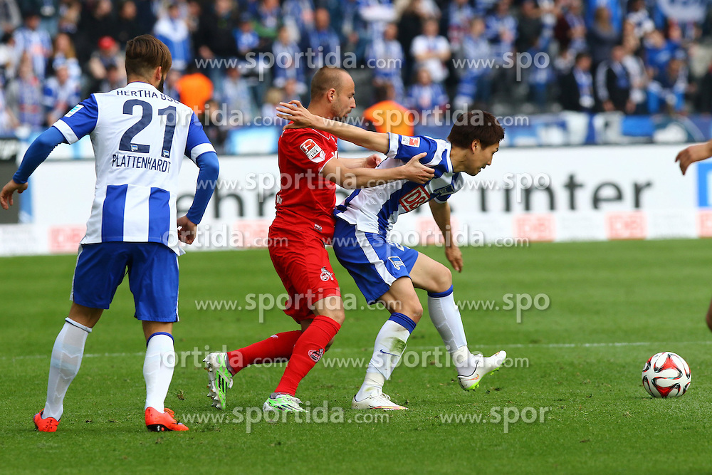 18.04.2015, Olympiastadion, Berlin, GER, 1. FBL, Hertha BSC vs 1. FC K&ouml;ln, 29. Runde, im Bild Miso Brecko (#2, 1. FC Koeln), Genki Haraguchi (#24, Hertha BSC Berlin) // SPO during the German Bundesliga 29th round match between Hertha BSC and Hertha BSC vs 1. FC K&ouml;ln at the Olympiastadion in Berlin, Germany on 2015/04/18. EXPA Pictures &copy; 2015, PhotoCredit: EXPA/ Eibner-Pressefoto/ Hundt<br /> <br /> *****ATTENTION - OUT of GER*****
