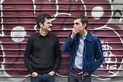 Paris, May 16 2019 - Portrait of graphic designers Alexandre Dimos (right) & Ghislain Triboulet (left), partners at deValence studio.