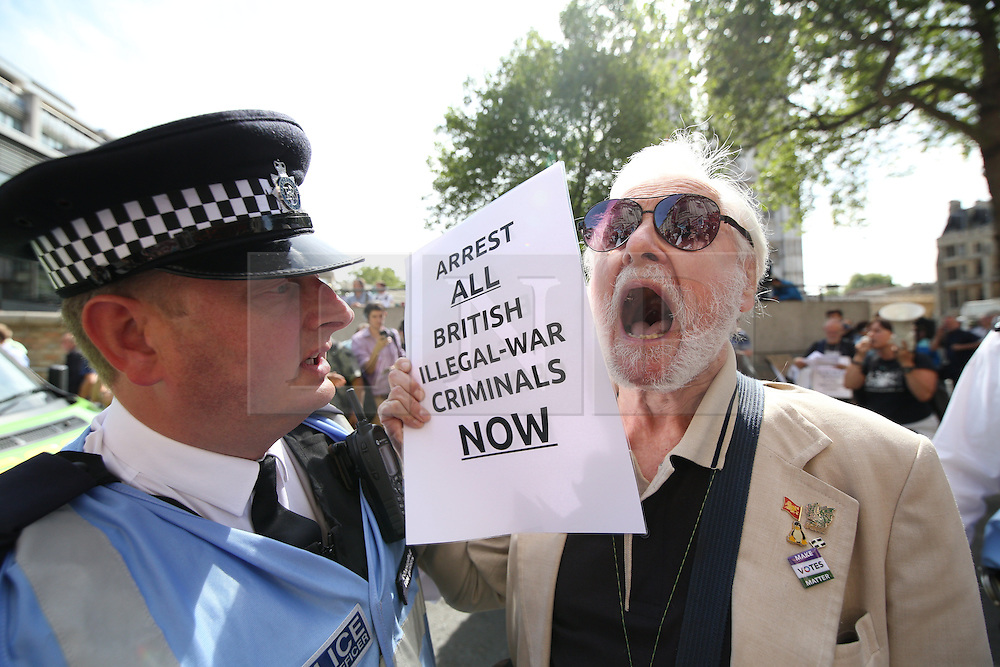 © Licensed to London News Pictures . 06/07/2016 . London , UK . Scene outside the Queen Elizabeth II Conference Centre in Westminster , ahead of the publication of the Chilcot Inquiry's report in to the 2003 invasion of Iraq . Photo credit : Joel Goodman/LNP