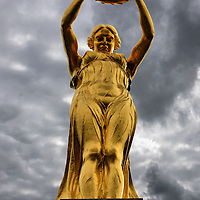 Monument of Remembrance Gilded Woman in Luxembourg City, Luxembourg <br />