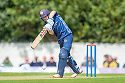Scotland's Matthew Cross plays a drive during the One Day International match between Scotland and Afghanistan at The Grange Cricket Club, Edinburgh, Scotland on 10 May 2019.