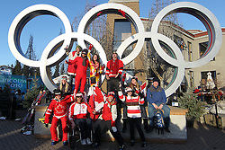 Olympic Winter Games Vancouver 2010 - Olympische Winter Spiele Vancouver 2010, Cross-Country Skiing, Skilanglauf, fans in front of olympic rings, Olympische Ringe **Photo by Malte Christians / HOCH ZWEI / SPORTIDA.com.