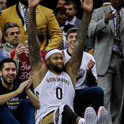 Mar 14, 2017; New Orleans, LA, USA; New Orleans Pelicans forward DeMarcus Cousins (0) celebrates in the final seconds of the fourth quarter of a game against the Portland Trail Blazers at the Smoothie King Center. The Pelicans defeated the Trail Blazers 100-77. Mandatory Credit: Derick E. Hingle-USA TODAY Sports