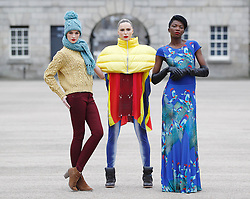 Repro Free: 06/01/2013 .Karen Fitzpatrick is pictured wearing Knitwear by Gonne Wilde with Sarah Morrissey is wearing a Helen Steele Duvet jacket and hand printed leggings and t-shirt and L'Or Mayo wearing a J Rothwell printed dress, showcasing the best of Showcase Fashion 2013. Showcase, Ireland's Creative Expo and the country's largest international trade fair, returns to the RDS this January, attracting buyers from over 17 countries keen to discover exciting and innovative new Irish products. Now in its 37th year, Showcase features over 400 of Ireland's leading designers, manufacturers and craftspeople delivering high quality products that are often unique to the show.   .This year's event, which takes place at the RDS from January 20th to 23rd 2013, focuses on two key strands - Fashion & Jewellery and Home & Giftware, with other exciting features such as 'Creative Island', an expanded 'Enterprise Zone', 'Selected at Showcase' and the ?Showcase Awards Programme?, networking events and the popular seminar programme featuring top international industry experts. Pic Andres Poveda.