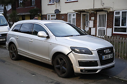 © Licensed to London News Pictures. 17/03/2019. London, UK. A damaged Audi car is parked in Viola Avenue in Stanwell after police said that they are treating a stabbing incident last night as a terrorism. Counter Terrorism Policing South East are leading an investigation into an incident last night, which has now been declared a terrorist incident, following the arrest of a man on suspicion of attempted murder and racially aggravated public order in Stanwell. Photo credit: Peter Macdiarmid/LNP
