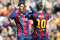 Luis Suarez and Leo Messi of Barcelona celebrating goal during the Spanish championship Liga football match between FC Barcelona and Rayo Vallecano on March 8, 2015 at Camp Nou stadium in Barcelona, Spain. Photo Bagu Blanco / DPPI