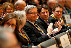 © London News Pictures. 11/03/2012.  Gateshead, UK. Former minister CHRIS HUHNE watching Nick Clegg deliver his leaders speech on the final day of the Liberal Democrat Spring conference at the Sage Gateshead on March 11th, 2012. Photo credit : Ben Cawthra/LNP