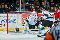 KELOWNA, CANADA - DECEMBER 2: Bailey Brkin #29 of the Kootenay Ice defends the net against the Kelowna Rockets on December 2, 2017 at Prospera Place in Kelowna, British Columbia, Canada.  (Photo by Marissa Baecker/Shoot the Breeze)  *** Local Caption ***