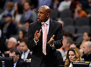 Dec. 09, 2012; Phoenix, AZ, USA; Orlando Magic head coach Jacque Vaughn reacts on the sidelines during the game against the Phoenix Suns in the second half at US Airways Center. The Magic defeated the Suns 98-90. Mandatory Credit: Jennifer Stewart-USA TODAY Sports.