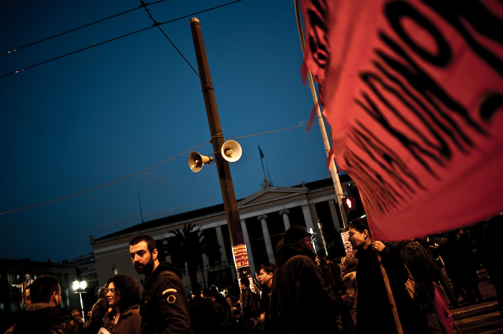 16/04/2010. Demonstration against government's austerity measures organized by left-field political unions at Propylaia, Athens, Greece.