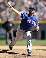 CHICAGO - APRIL 23:  Sam Dyson #47 of the Texas Rangers pitches against the Chicago White Sox on April 23, 2016 at U.S. Cellular Field in Chicago, Illinois.  The White Sox defeated the Rangers 4-3 in 11 innings.  (Photo by Ron Vesely)   Subject: Sam Dyson