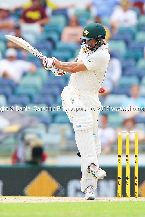 Mitchell Johnson of Australia plays a shot fine during Day 5 on the 17th of November 2015. The New Zealand Black Caps tour of Australia, 2nd test at the WACA ground in Perth, 13 - 17th of November 2015.   Photo: Daniel Carson / www.photosport.nz