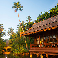 Timber resort buildings, inspired by traditional Malay palaces, Tanjong Jara Resort, Terengganu, Malaysia.