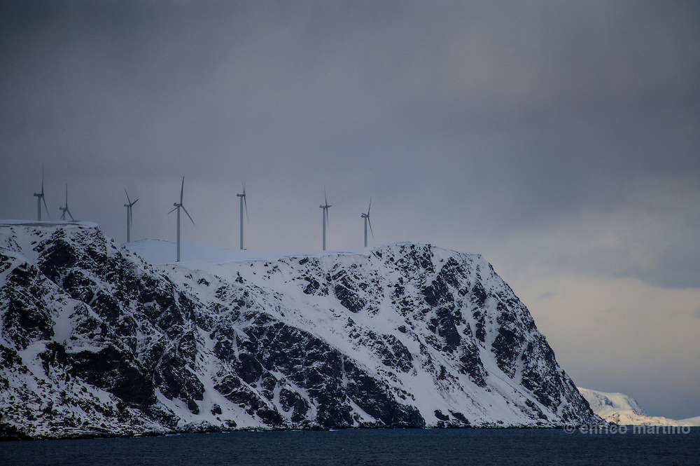 Large-scale wind farms at Kafjord, not far from Mageroia island and North Cape.