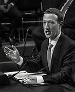 WASHINGTON, DC (April 10, 2018) -- Facebook founder and Chief Executive Officer Mark Zuckerberg faces questions from U.S. Senators on hearings lead by reports that Cambridge Analytica, a British political consulting firm linked to the Trump campaign, harvested data from 87 million Facebook users.  Photo by Johnny Bivera