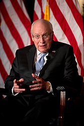 Sept. 10, 2015 - Yorba Linda, CA, USA - Former vice president DICK CHENEY answers a question from his daughter, Liz Cheney (not shown), about the book ''Exceptional: Why the World Needs a Powerful America'' which the father-daughter team wrote. The pair were visiting the Nixon Library in Yorba Linda , California. (Credit Image: © Matt Masin/The Orange County Register via ZUMA Wire)