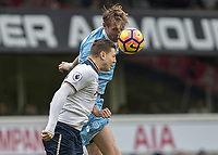 Football - 2016 / 2017 Premier League - Tottenham Hotspur vs. Stoke City<br /> <br /> Peter Crouch of Stoke City beats Kevin Wimmer of Tottenham to the header at White Hart Lane.<br /> <br /> COLORSPORT/DANIEL BEARHAM