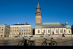 View of the German Church beside Stora Hamnkanalen or Stora Hamn Canal  in central Gothenburg in Sweden