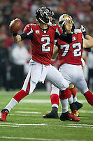 20 January 2013: Quarterback (2) MAtt Ryan of the Atlanta Falcons passes the ball against the San Francisco 49ers during the first half of the 49ers 28-24 victory over the Falcons in the NFC Championship Game at the Georgia Dome in Atlanta, GA.