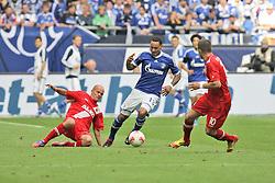 01.09.2012, BayArena, Leverkusen, GER, 1. FBL, Bayer 04 Leverkusen vs FC Augsburg, 2. Runde, im Bild v.l. Tobias Werner (FC Augsburg), Jermaine Jones (FC Schalke 04), Daniel Baier (FC Augsburg), Aktion // during the German Bundesliga 2nd round match between Bayer 04 Leverkusen and FC Augsburg at the BayArena, Leverkusen, Germany on 2012/09/01. EXPA Pictures © 2012, PhotoCredit: EXPA/ Eibner/ Oliver Vogler..***** ATTENTION - OUT OF GER *****